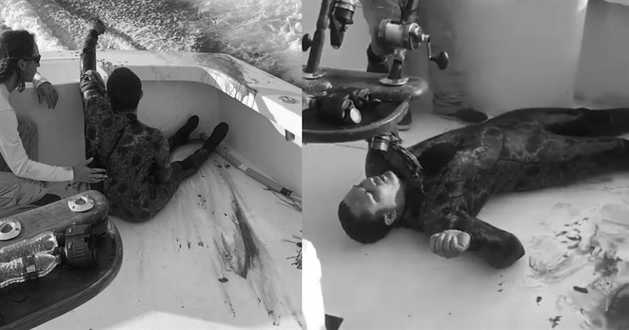 潛水男被救起後血流如注,十分怵目驚心;圖片經變色處理。(圖/ 翻攝自Instagram@hot_shot_charters)