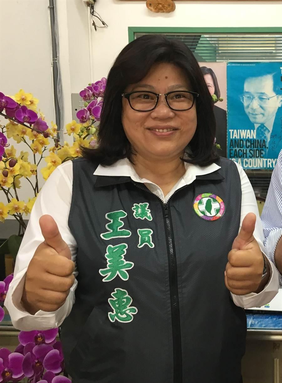 嘉義市議員王美惠將代表民進黨參選嘉義市立委。(廖素慧攝)