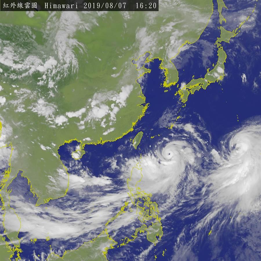 中央氣象局下午4時20分發布最新衛星雲圖。(圖擷自氣象局)