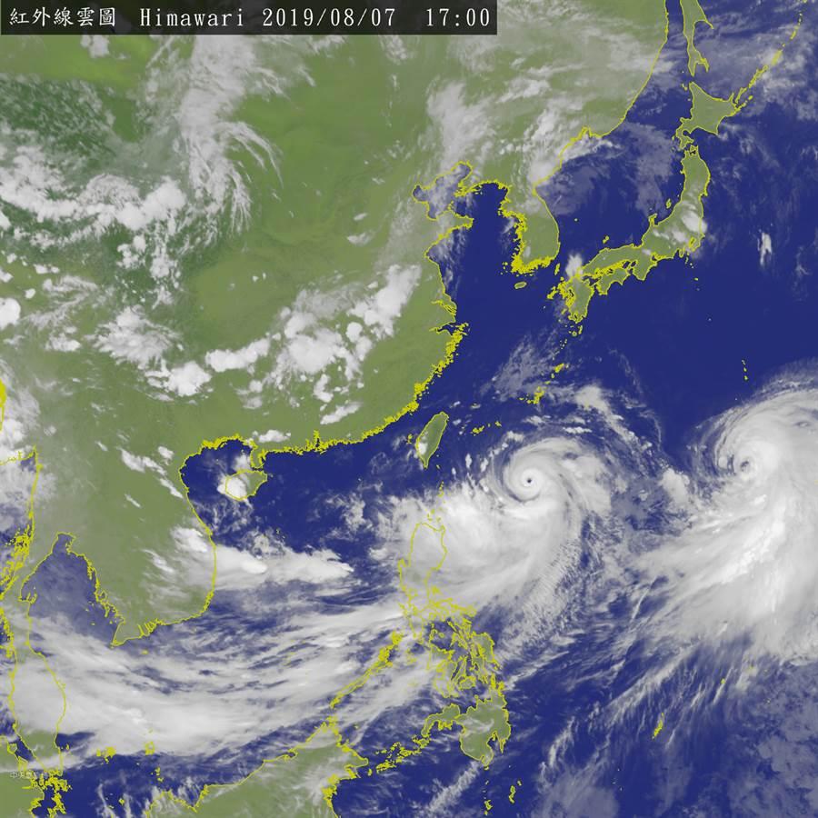 中颱利奇馬逼近台灣。衛星雲圖。(翻攝中它氣象局)