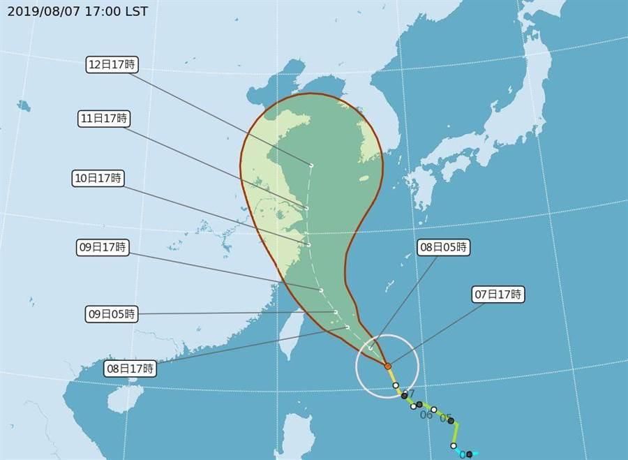 中颱利奇馬接近,氣象局估明日白天發布陸警,後天風雨最強。(圖/取自氣象局網頁)