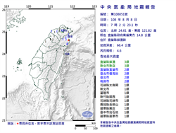 07:02又有地震!宜蘭規模4.6 台北有感
