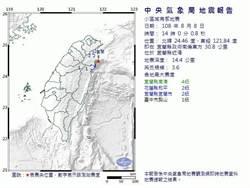 早上5點餘震!宜蘭下午2點規模3.6地震 最大震度4級
