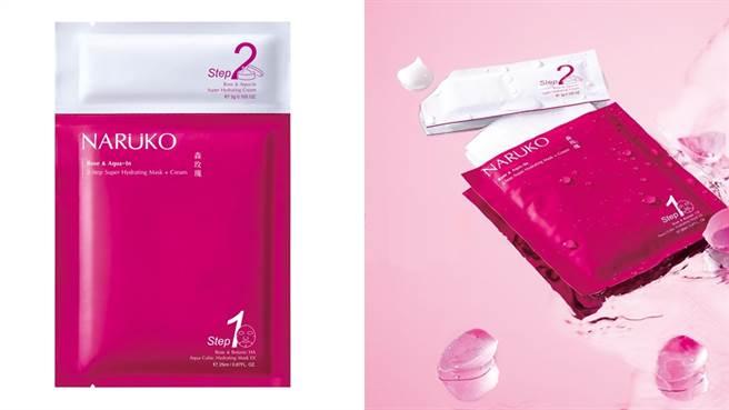 2步驟森玫瑰超水感面膜保濕霜速效組,1號的部份是第一步驟「森玫瑰水立方保濕面膜EX」,2號的部份是第二步驟「森玫瑰超水感保濕霜」,一片就能完成保養程序。(圖/品牌提供)