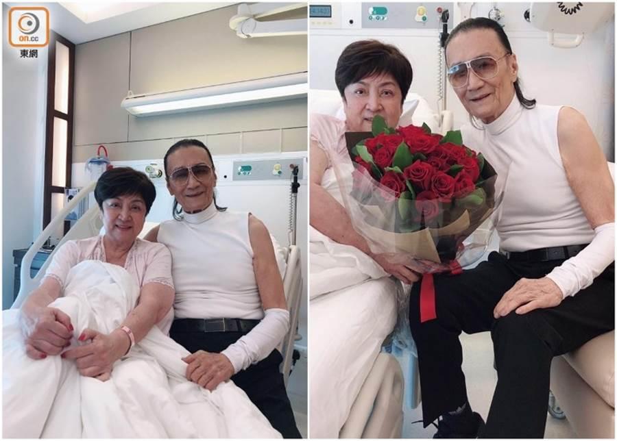 甄珍日前因半身麻痹家上頭痛頭暈2度入院,謝賢捧玫瑰探病。(圖/翻攝自東網)