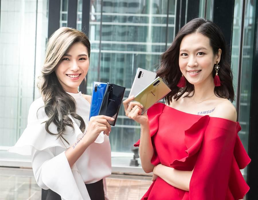 三星Galaxy Note10系列將推出星環銀、星環白、星環黑 3色,採稜鏡折射色彩設計。(三星提供)