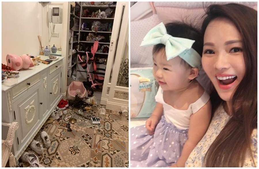 伊能靜曝光家中在強震過後的慘況,透露當下第一時間就抱著女兒往外衝。(取自伊能靜臉書)