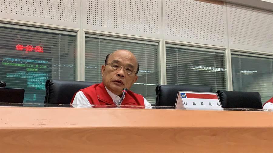 行政院長蘇貞昌在中央災害應變中心了解全台災情。(葉書宏翻攝)