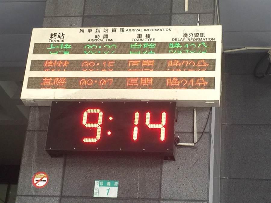 台鐵汐止站多輛列車有延誤情形。開往樹林的區間車甚至延誤72分鐘。(讀者提供)