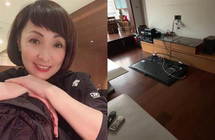 寶媽家中電視被地震震到地上。(圖/翻攝自臉書)