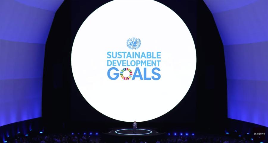 三星電子與聯合國開發計畫署攜手推動「全球目標」計畫。(圖/翻攝YouTube直播畫面)