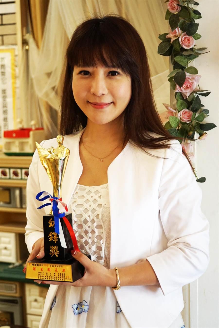 大葉大學視傳系校友陳雅薇連續兩年獲幼鐸獎。(謝瓊雲翻攝)