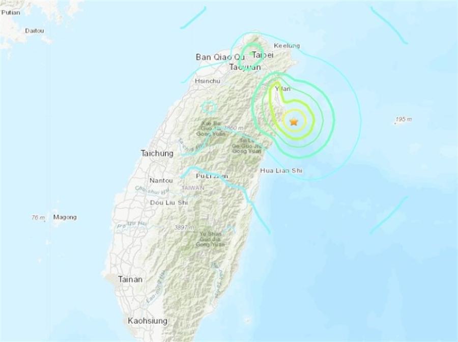 宜蘭近海8日清晨5時28分發生芮氏規模6強震。(圖/翻攝自美國地質調查所)