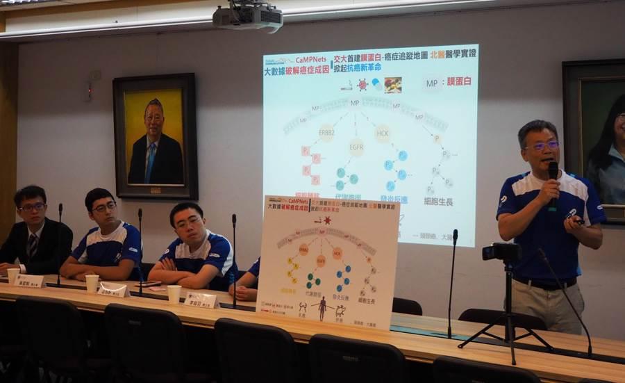 交通大學生物科技學院藥物設計及系統生物團隊與台北醫學大學乳癌研究團隊合作,共同開發「癌症膜蛋白調控網路」,大規模建立膜蛋白與癌症的關係,創下全球首例。(陳育賢攝)