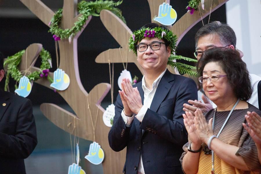 陳其邁強調,感謝小林村居民,用生命教會大家要謙卑地面對大自然。重建的過程,也帶給高雄希望。(袁庭堯攝)