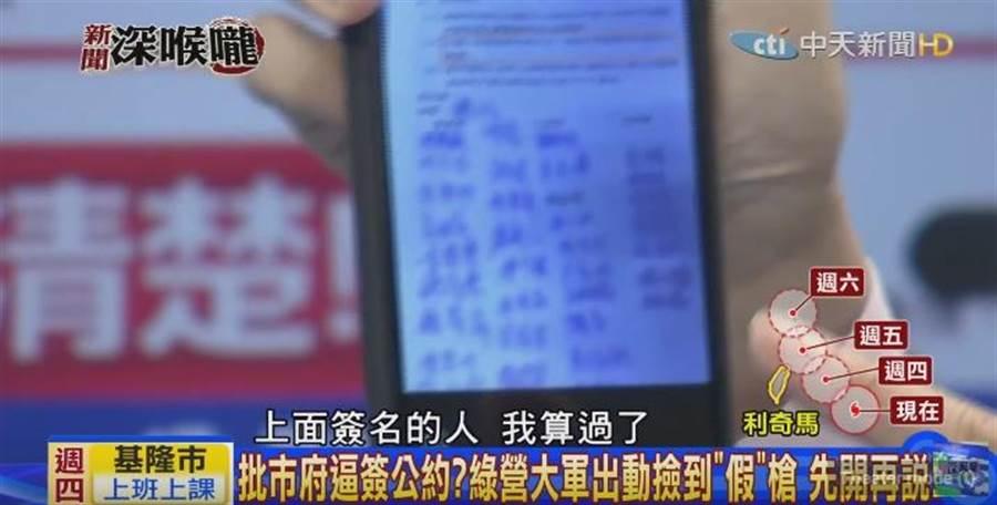 《新聞深喉嚨》主持人王又正出示公文簽名,表示「內鬼」就在其中。(圖/本報系影音截圖)