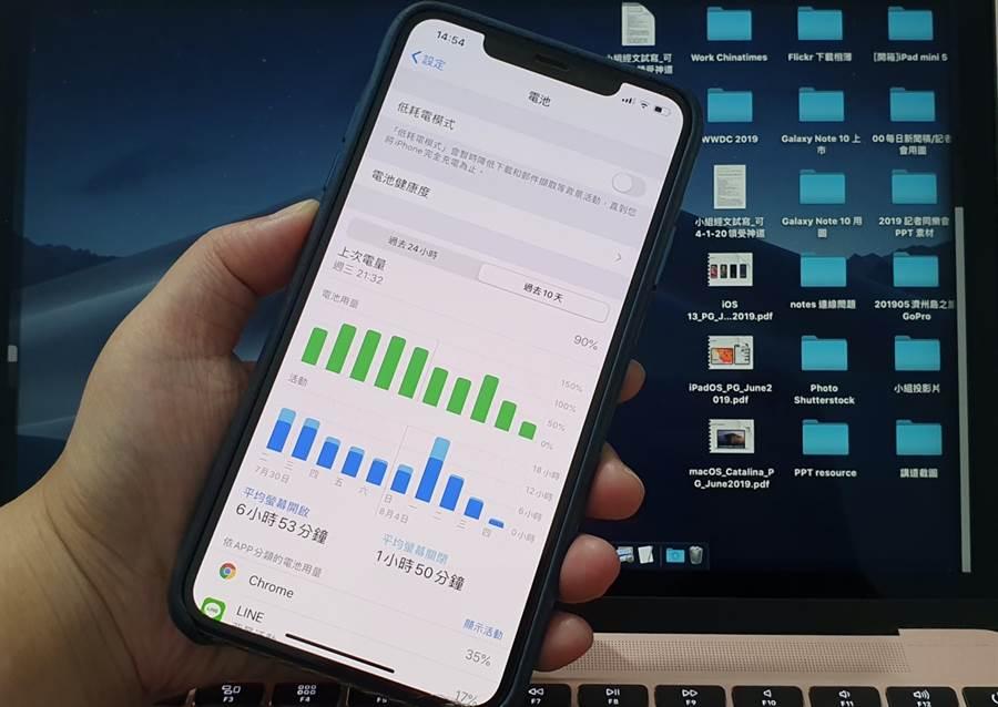 外媒傳出,iPhone若是更換第三方電池,會跳出無法驗證是否是原廠電池的提示,且連帶會限制瀏覽電池健康度功能的權限。(圖/黃慧雯攝)