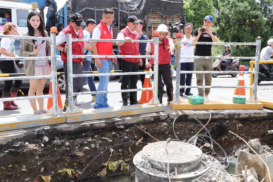 水利局於該路段設計滯洪池,解決下雨積水問題。(吳亮賢攝)