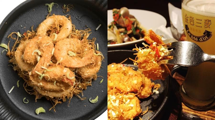 「墨魚打破金鴨蛋」,新鮮墨魚裹上滿滿金沙醬,與大蝦一同入鍋油炸,外酥內嫩。(圖/邱映慈攝影、品牌提供)