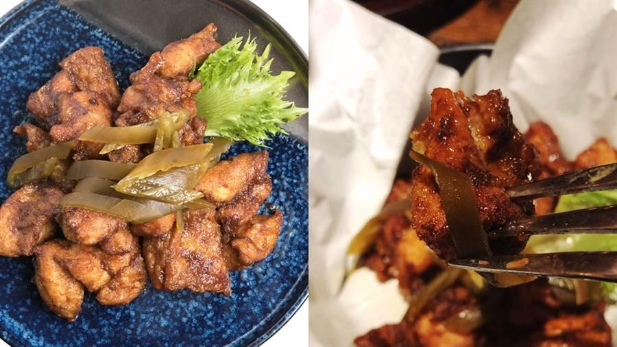 「沙茶灶飛雞」,濃郁沙茶入味香嫩雞塊,搭配剝皮辣椒超好吃!(圖/邱映慈攝影、品牌提供)
