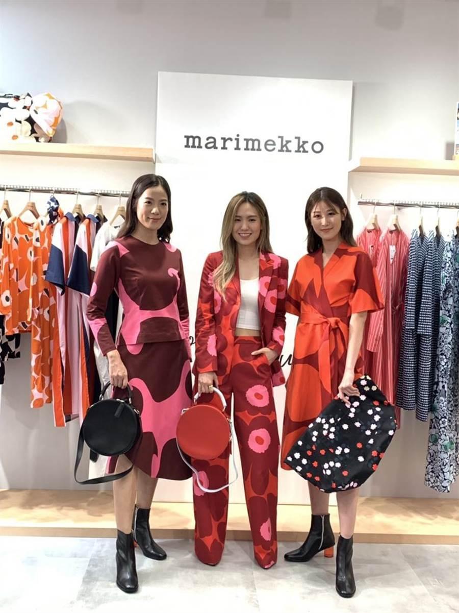 (金曲獎得主孫盛希(中)為女裝品牌marimekko台中大遠百新櫃站台。圖/曾麗芳)