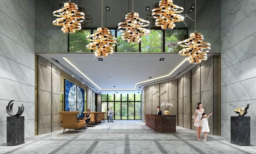 飯店規格的挑高大廳,讓回家就有住飯店般的尊榮感受(圖/業者提供)