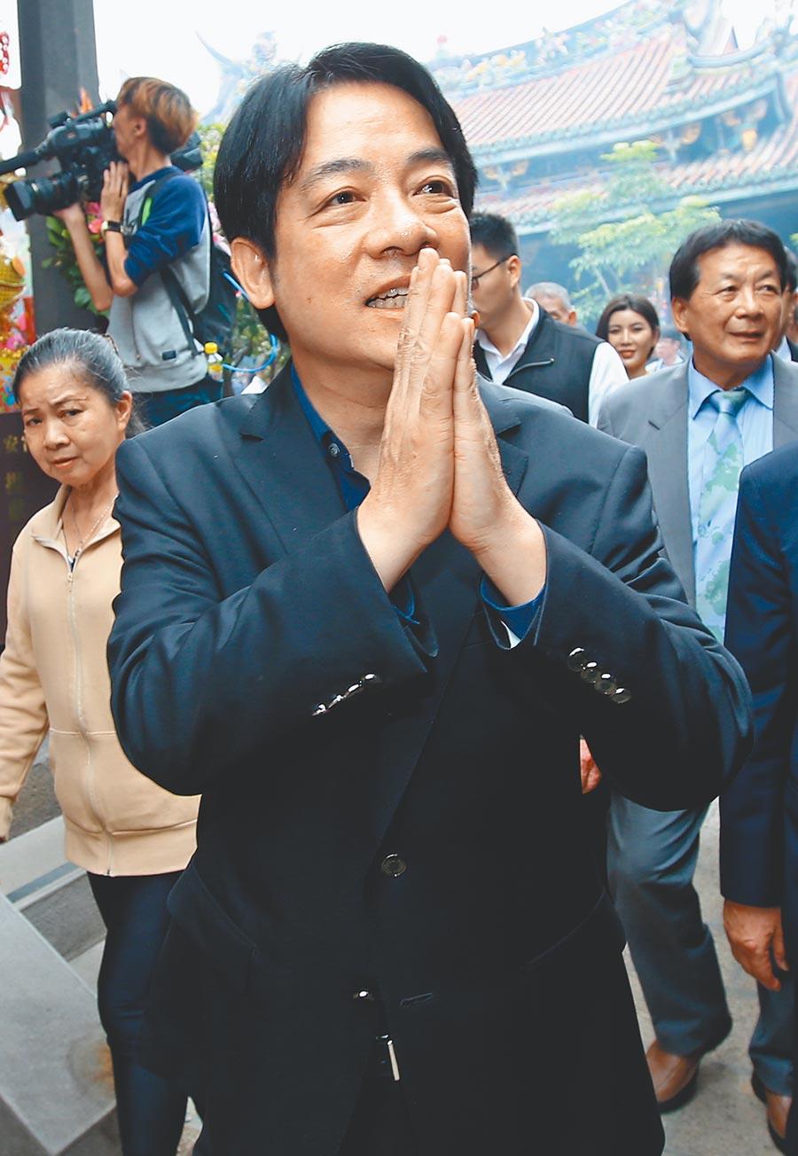 台南市長黃偉哲表示,「蔡賴會」是否成真,應該這幾個禮拜就會看到。圖為前行政院長賴清德前往大龍峒保安宮參拜。(本報資料照片)