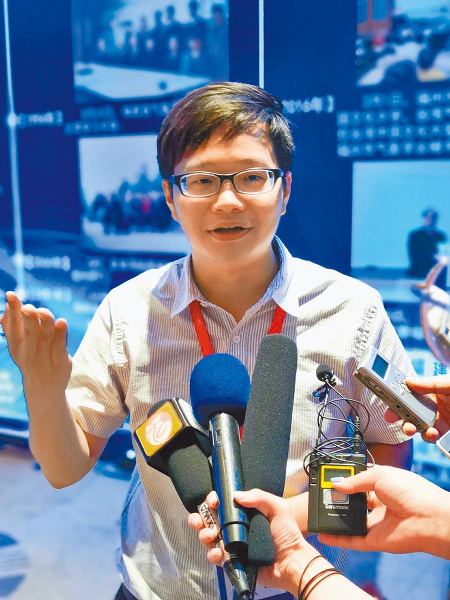 台灣師範大學地科系博士生邱洵的主題演講「台灣防災氣象應用經驗談──是個大問題也是個小問題」。(特約記者陳文攝)