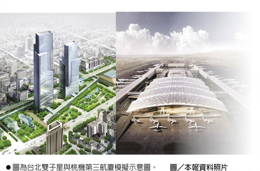 圖為台北雙子星與桃機第三航廈模擬示意圖。圖/本報資料照片