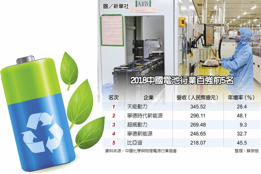 2018中國電池行業百強前5名圖/新華社