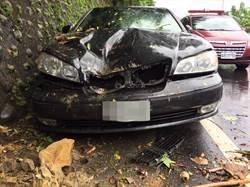 利奇馬來襲  深坑石塊掉落砸毀汽車