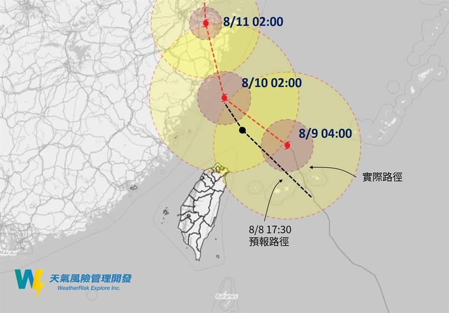 利奇馬颱風路徑。(圖/翻攝自天氣風險WeatherRisk臉書)