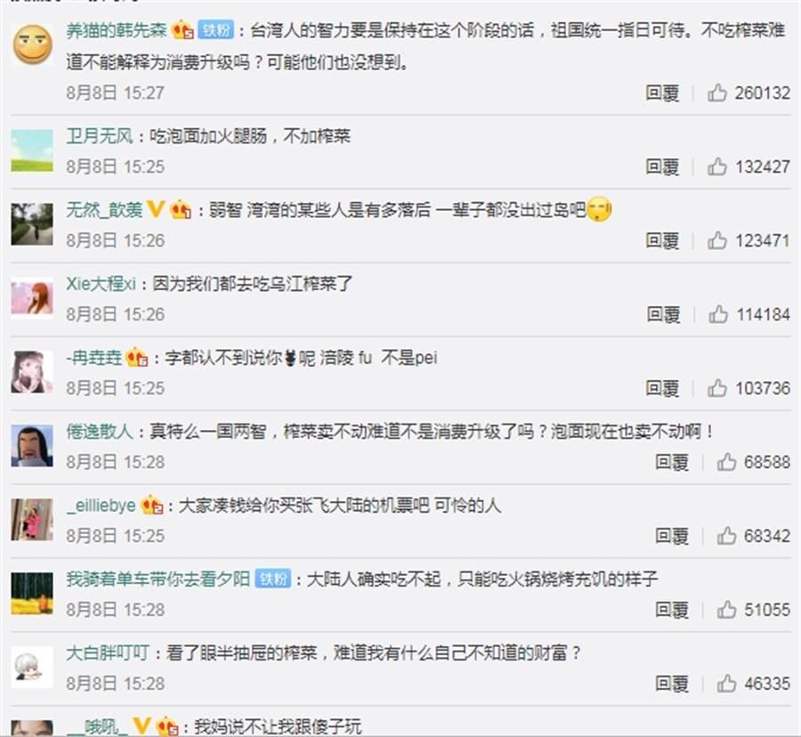 「台灣節目稱大陸人吃不起榨菜」這個熱搜詞,一度登上微博熱搜排行榜第一名,大陸網友留言酸爆。(微博截圖)