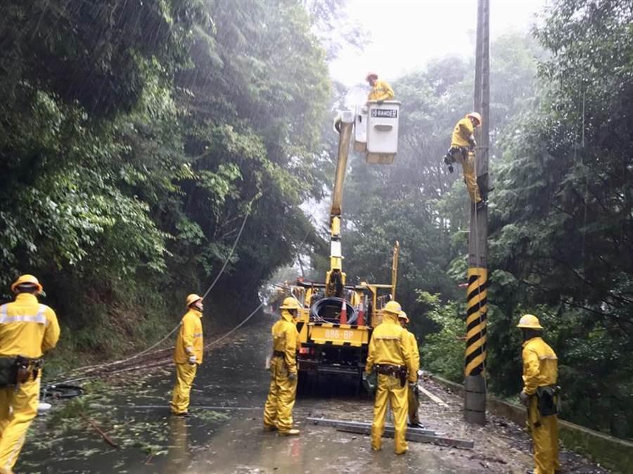 颱風造成8.4萬戶停電 晚間9時全數復電 (台電提供)