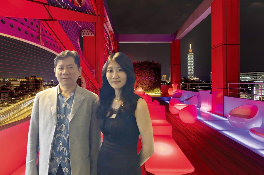富裔實業董座祝文定與泡泡飯店經理祝宜敬,為泡泡飯店空中酒吧開幕揭幕。圖/業者提供
