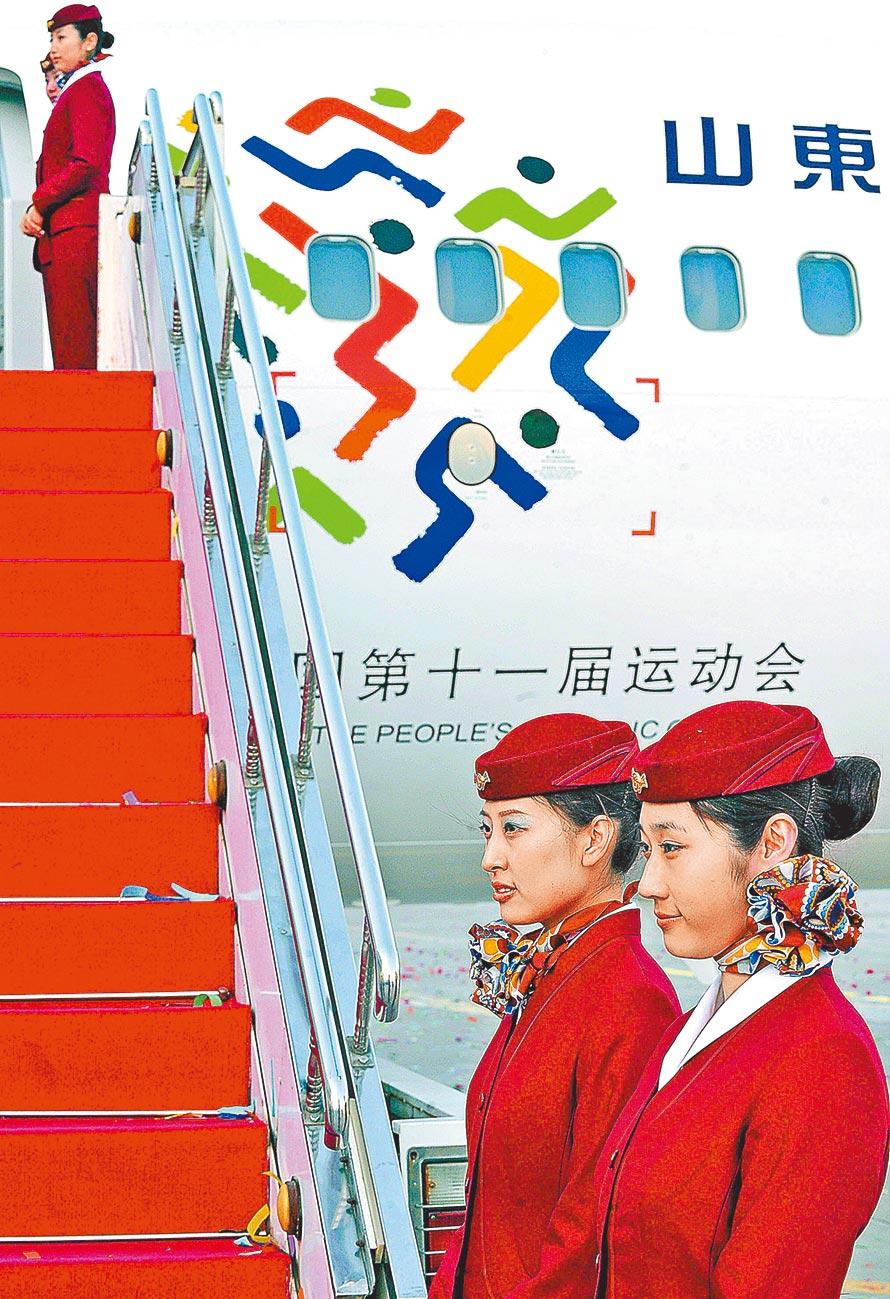 山東航空公司台灣分公司在台北揭牌。(新華社資料照片)