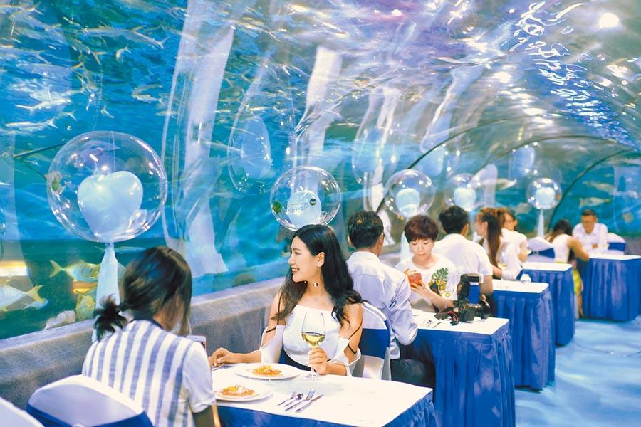 七夕佳節,南京的海底晚宴。(中新社資料照片)