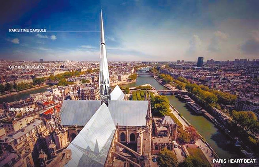 杭州情侶參加GoArchitect所舉辦的巴黎聖母院設計競賽圖,巴黎心跳。(取自GoArchitect官網)