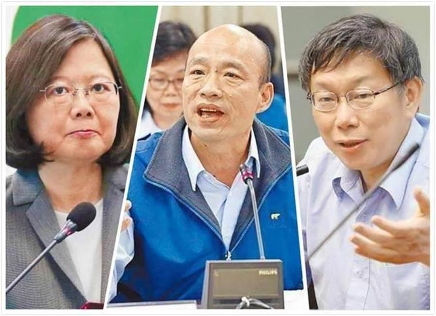 蔡英文總統(左)、高雄市長韓國瑜(中)、台北市長柯文哲(右)。(合成圖/中時資料照)