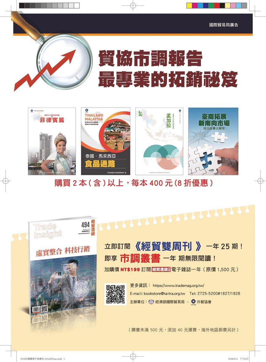 貿協「經貿透視雙周刊+市調叢書」優惠專案。圖/外貿協會提供