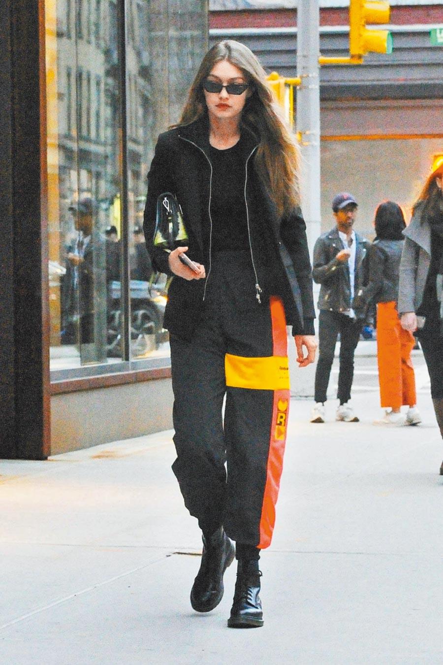 Gigi Hadid熱愛經典8孔馬汀1460,不挑身材輕鬆穿出帥氣。(CFP)