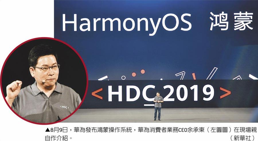 8月9日,華為發布鴻蒙操作系統,華為消費者業務CEO余承東(左圓圖)在現場親自作介紹。(新華社)