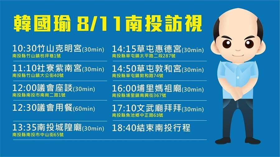 國民黨總統候選人、高雄市長韓國瑜今(11日)赴南投參訪宗教寺廟,立委許淑華,昨在臉書公開韓國瑜今日行程表。(許淑華臉書)