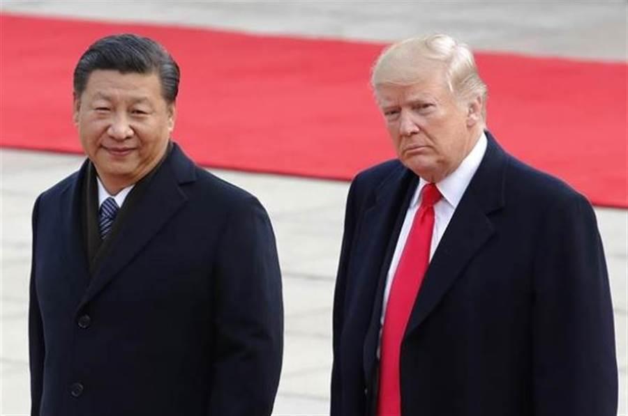 美國總統川普(右)與大陸國家主席習近平。(美聯社資料照片)