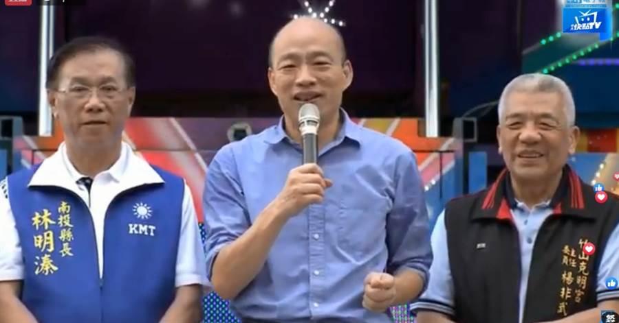 高雄市長韓國瑜今(11日)赴南投參訪宗教寺廟,預計和南投縣議會及地方人士座談。第一站為南投竹山克明宮。(中時電子報直播)