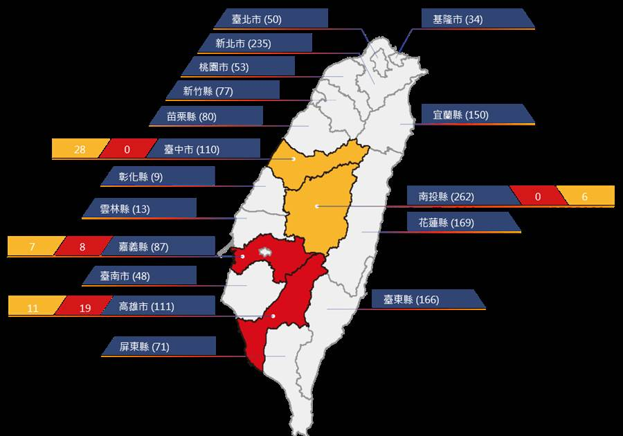 受西南風影響,中南部雨勢明顯,農委會水保局已對嘉義、高雄發布土石流紅色警戒。(取自土石流防災資訊網)