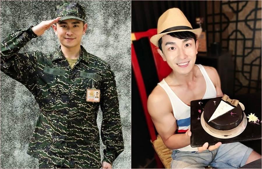 陳謙文剛飾演《女兵日記》時(左)還相當肉感,直到南北奔波接演《天之蕉子》後,讓他健身加拍戲狂瘦10公斤,肌肉都練出來。(合成圖/翻攝自陳謙文臉書)