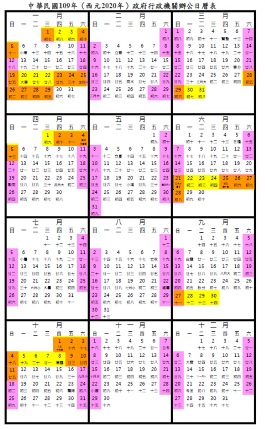 行事曆中,黃色為請假日;橘色+黃色為連休。(圖/翻攝自行政院官網)