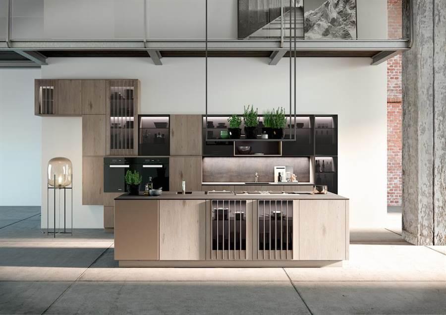 ALNOGLINT和ALNOPEARL混搭而成的經典煙灰色廚具系列。(麗舍提供)