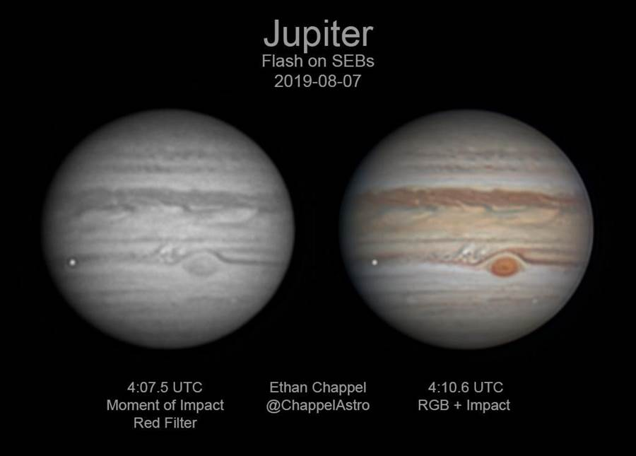 业余天文学家伊桑・沙佩尔拍到木星上的闪光,也就是流星撞木星的瞬间,目前希望再找到其他可佐证的影像。(图/Ethan Chappel/CC BY))